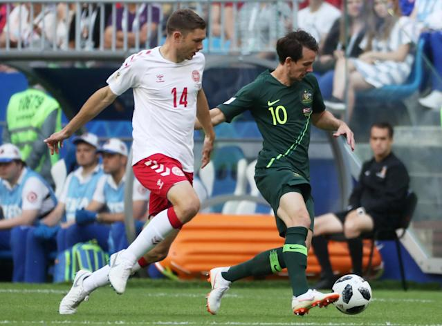 Soccer Football - World Cup - Group C - Denmark vs Australia - Samara Arena, Samara, Russia - June 21, 2018 Australia's Robbie Kruse in action with Denmark's Henrik Dalsgaard REUTERS/Pilar Olivares