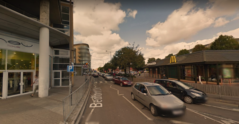 The stabbing took place outside McDonald's and New Look in Feltham on Thursday afternoon (GOOGLE MAPS)