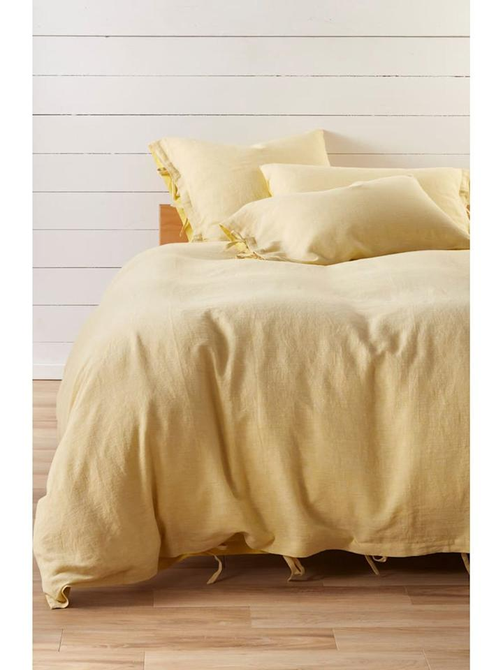 "<p>A lightweight duvet cover made of natural linen material will give your room an instant makeover. We love the trendy yellow color, although it's available in a variety of hues.</p> <p><strong>To buy:</strong> from $169; <a href=""https://click.linksynergy.com/deeplink?id=93xLBvPhAeE&mid=1237&murl=https%3A%2F%2Fshop.nordstrom.com%2Fs%2Ftreasure-bond-relaxed-cotton-linen-duvet-cover%2F4728582&u1=RS%2CYouCanShopSustainableHomeDecorFromNordstrominThisUnder-the-RadarSection%2Cdarganb%2CDEC%2CIMA%2C670904%2C201908%2CI"" target=""_blank"">nordstrom.com</a>.</p>"