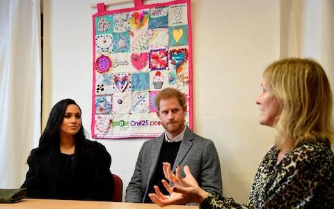 The Duke and Duchess of Sussex meet with CEO Anna Smith during their visit to One25, a charity specialising in helping women to break free from street sex work and addiction - Credit: Toby  Melville/PA
