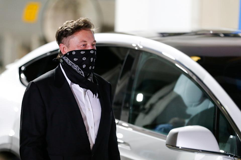 SpaceX founder Elon Musk arrives ahead of the launch of the SpaceX Falcon 9 rocket with the Crew Dragon capsule, before launch of their NASA commercial crew mission at Kennedy Space Center in Cape Canaveral, Florida, U.S., April 23, 2021. REUTERS/Joe Skipper