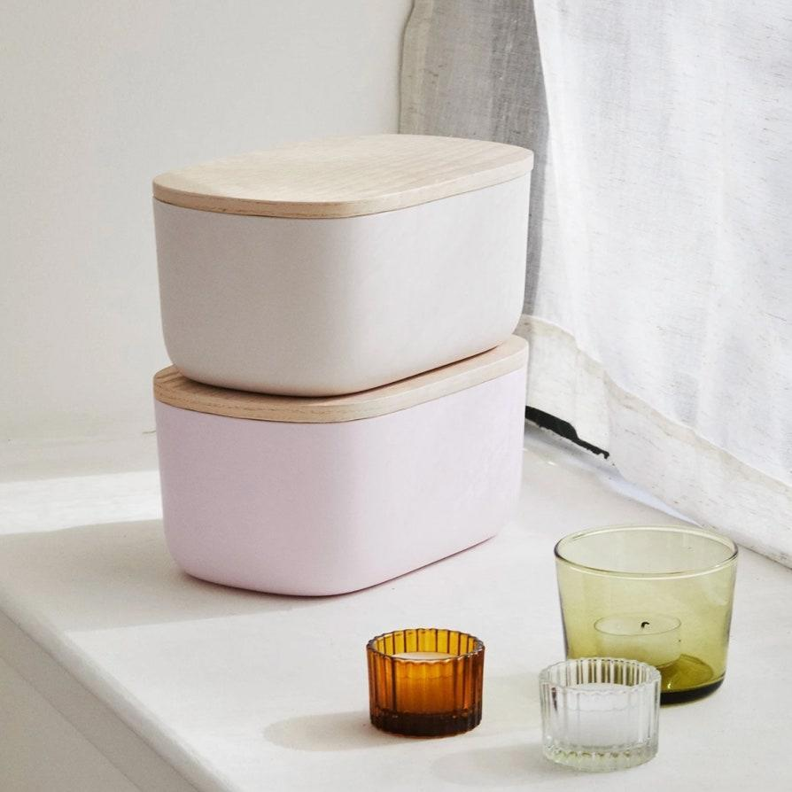 """Open Spaces makes great-looking containers for pantry staples, beauty products, and random knick-knacks, including these minimalist bins that are an ideal insulated home for your face mask friends. $38, Open Spaces. <a href=""""https://getopenspaces.com/shop/small-bins/?variant=32365962690606"""" rel=""""nofollow noopener"""" target=""""_blank"""" data-ylk=""""slk:Get it now!"""" class=""""link rapid-noclick-resp"""">Get it now!</a>"""