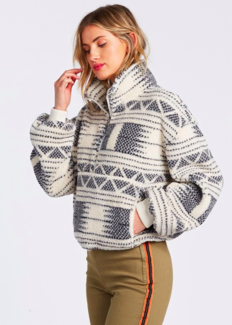 "This sherpa fleece pullover is just the piece you need to carry yourself through the rest of winter. Wear it with <a href=""https://www.glamour.com/gallery/best-flared-leggings?mbid=synd_yahoo_rss"" rel=""nofollow noopener"" target=""_blank"" data-ylk=""slk:flared leggings"" class=""link rapid-noclick-resp"">flared leggings</a> and <a href=""https://www.glamour.com/story/best-uggs?mbid=synd_yahoo_rss"" rel=""nofollow noopener"" target=""_blank"" data-ylk=""slk:Uggs"" class=""link rapid-noclick-resp"">Uggs</a> for a full-on early-aughts look. $69.95, Billabong. <a href=""https://www.billabong.com/time-off-fleece-pullover-194843374562.html"" rel=""nofollow noopener"" target=""_blank"" data-ylk=""slk:Get it now!"" class=""link rapid-noclick-resp"">Get it now!</a>"