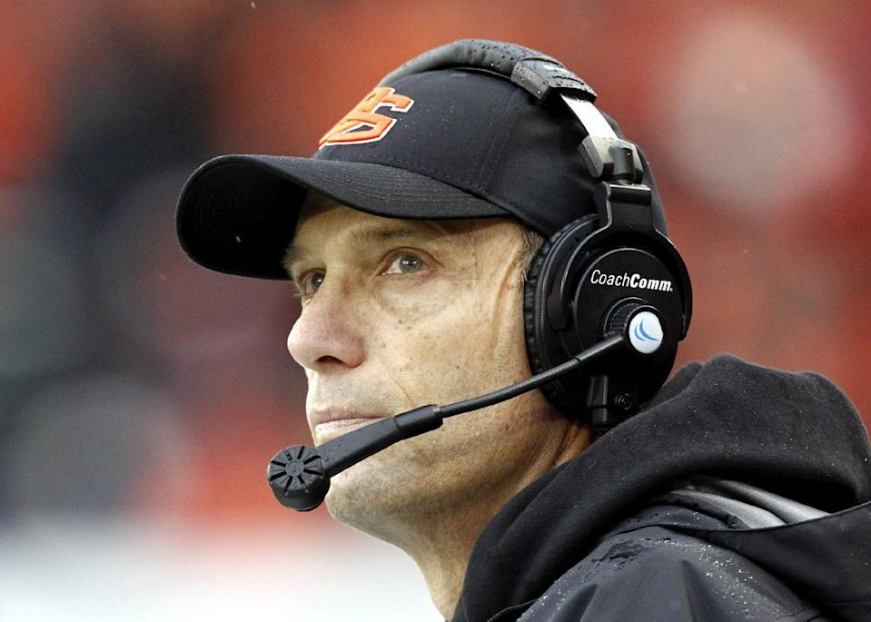 FILE - In this Nov. 24, 2012, file photo, Oregon State coach Mike Riley looks on from the sideline during the second half of an NCAA college football game against Oregon in Corvallis, Ore. Nebraska has hired Riley as its new football coach on Thursday, Dec. 4, 2014, replacing the fired Bo Pelini. (AP Photo/Don Ryan, File)