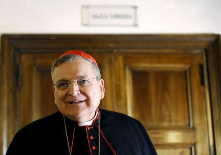 """Cardinal Raymond Leo Burke attends a news conference by the conservative Catholic group """"Voice of the Family"""" in Rome, Italy October 15, 2015. REUTERS/Alessandro Bianchi/File photo"""