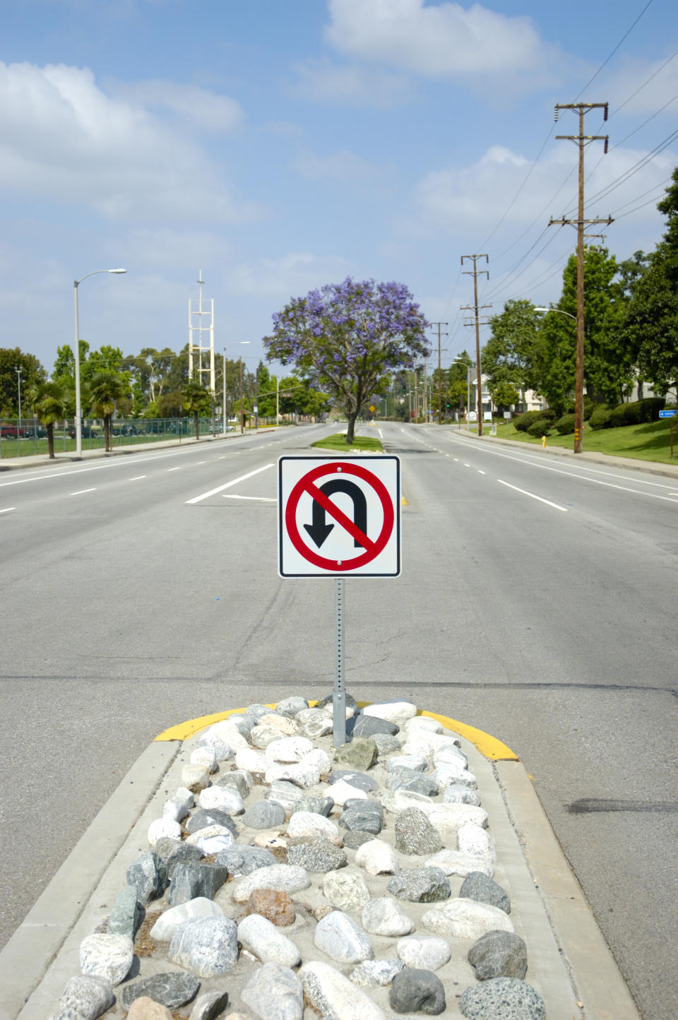 No u-turn sign in the street. Source: Getty Images