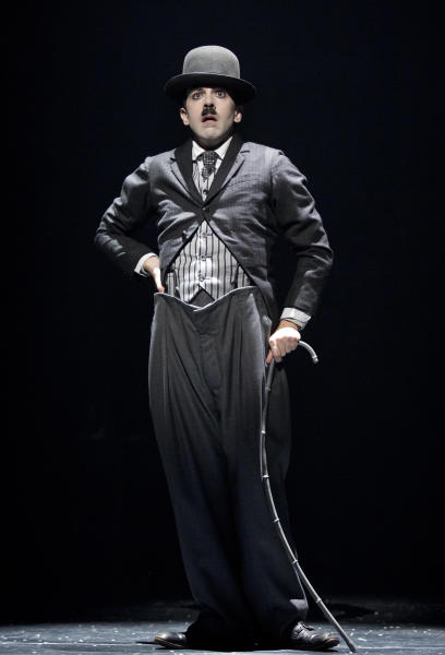 "This theater image released by Boneau/Bryan-Brown shows Rob McClure as Charlie Chaplin in a scene from ""Chaplin The Musical,"" in New York. (AP Photo/Boneau/Bryan-Brown, Joan Marcus)"