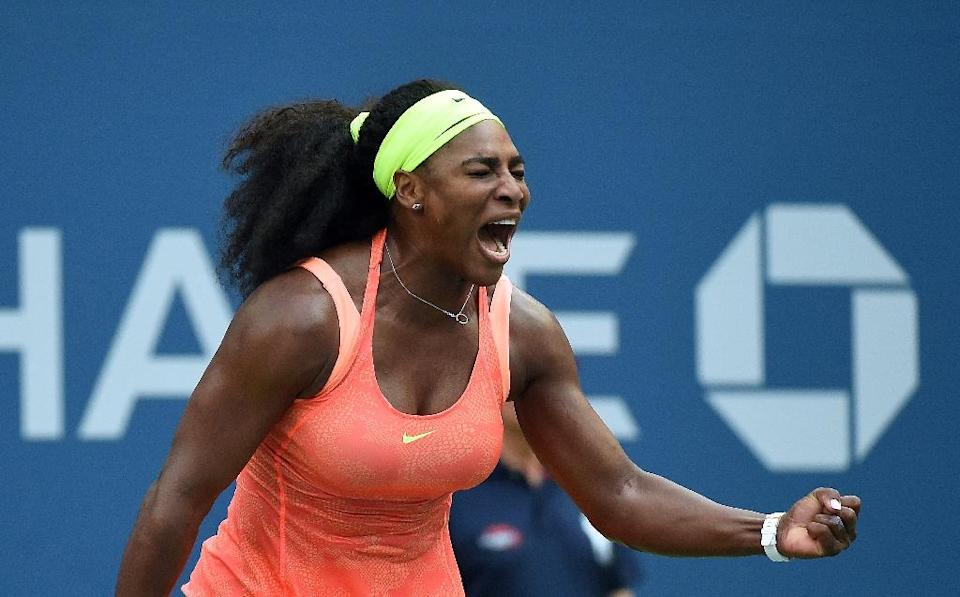 Serena Williams celebrates winning a point against Kiki Bertens during their US Open match at USTA Billie Jean King National Tennis Center in New York on September 2, 2015 (AFP Photo/Jewel Samad)