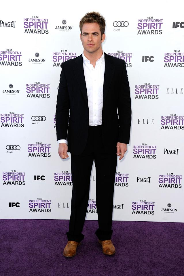 SANTA MONICA, CA - FEBRUARY 25:  Actor Chris Pine arrives at the 2012 Film Independent Spirit Awards on February 25, 2012 in Santa Monica, California.  (Photo by Frazer Harrison/Getty Images)