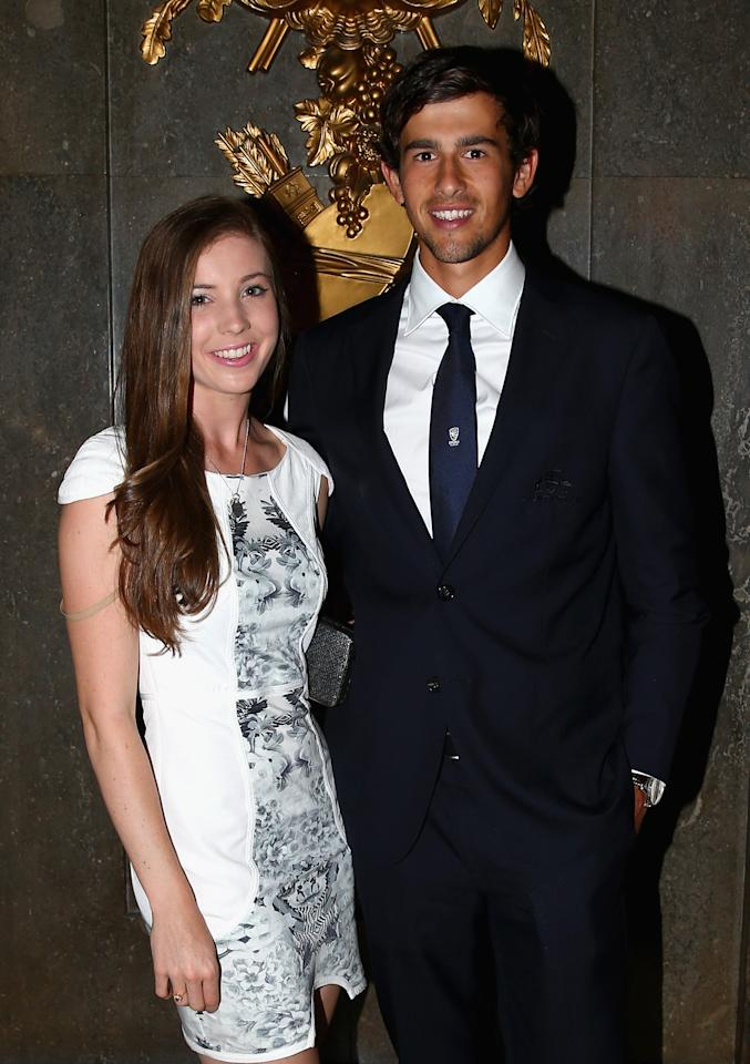 LONDON, ENGLAND - JULY 16:  Ashton Agar of Australia and his girlfriend Madi Hay pose during the Australian Cricket Team visit to the Australian High Commision on July 16, 2013 in London, England.  (Photo by Ryan Pierse/Getty Images)