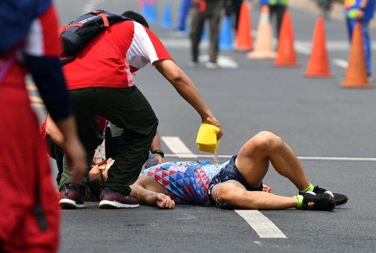 South Korean bronze medallist Joo Hyun-myeong needed attention after the finish line