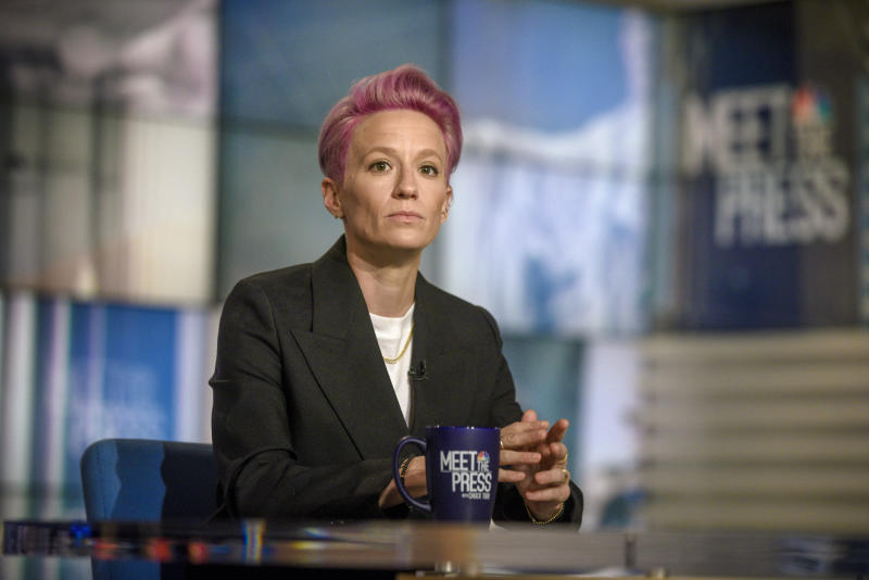 "MEET THE PRESS -- Pictured: (l-r) Megan Rapinoe, World Cup Champion and U.S. Womens National Soccer Team Co-Captain, appears on ""Meet the Press"" in Washington, D.C., Sunday July 14, 2019. (Photo by: William B. Plowman/NBC/NBC NewsWire via Getty Images)"