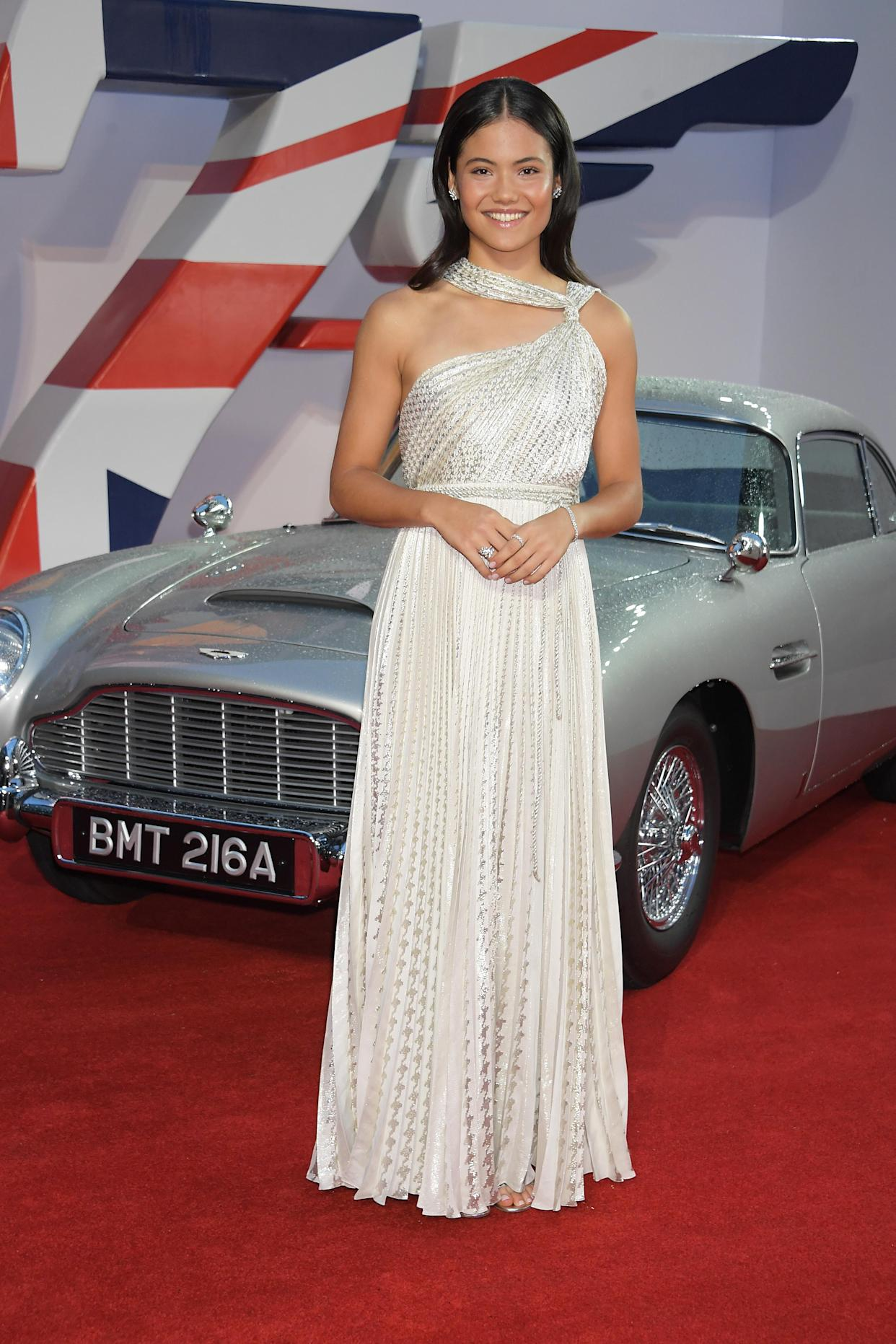British tennis star Emma Raducanu arrived wearing a stunning silver gown. (Getty Images)
