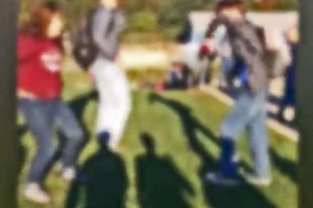 Footage of a school bully in action has led to the suspension and police arrest of one student — so far. (Photo: WTAE)