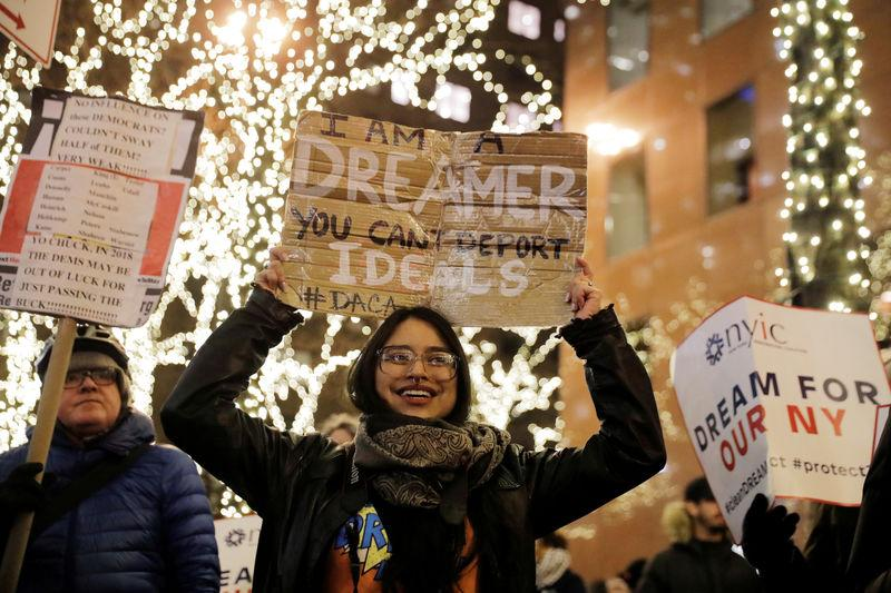 """Deferred Action for Childhood Arrivals (DACA) recipient Gloria Mendoza participates in a demonstration in support of """"clean"""" legislation in New York"""