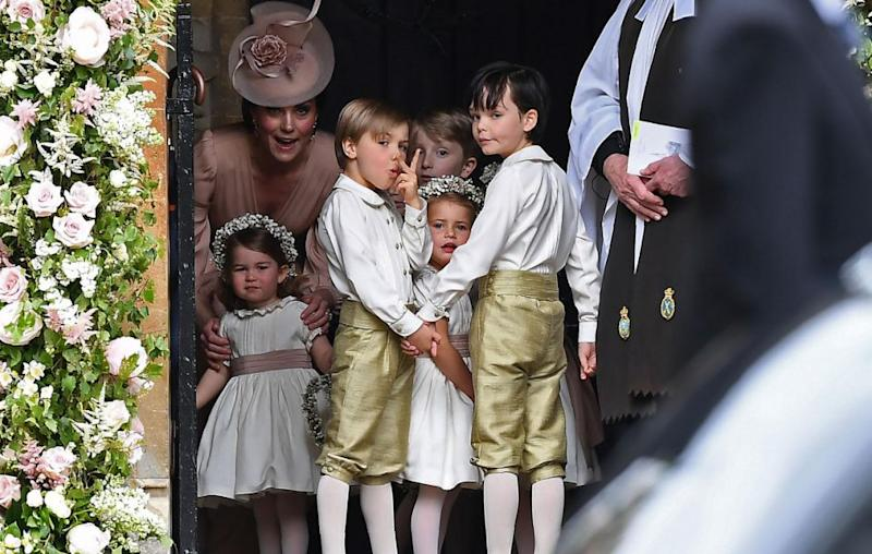 Another one of the pageboys being cheeky for the cameras. Source: Getty