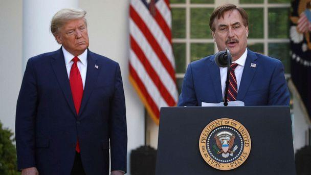 PHOTO: My Pillow CEO Mike Lindell speaks as President Donald Trump listens during a briefing about the coronavirus in the Rose Garden of the White House, in Washington, D.C., March 30, 2020. (Alex Brandon/AP, FILE)