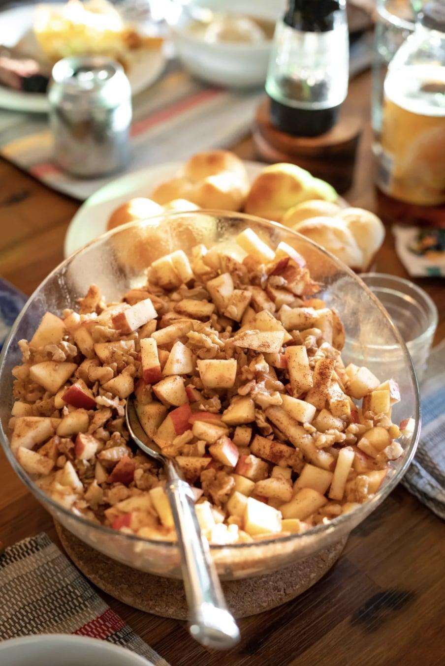 "<p>A traditional meal served as a Passover Seder dish, charoset has been a popular dish for fellow New Yorkers this month. Apples, walnuts, and grape juice mix together to make a lively meal in no time.</p> <p><strong>Get the recipe</strong>: <a href=""https://jamiegeller.com/recipes/ashkenaz-charoset/"" class=""link rapid-noclick-resp"" rel=""nofollow noopener"" target=""_blank"" data-ylk=""slk:Ashkenazi charoset"">Ashkenazi charoset</a></p>"