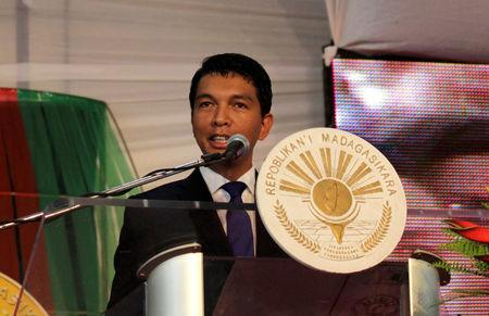 FILE PHOTO: Rajoelina addresses guests during the handover ceremony at Iavoloha Presidential Palace in the capital Antananarivo