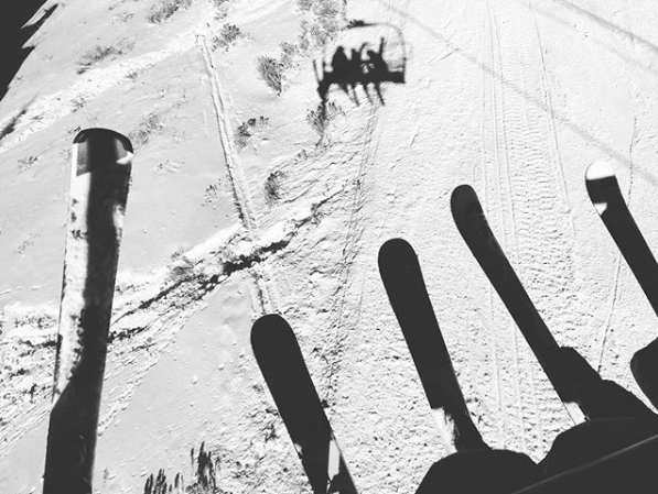 Katie took to her Instagram to post a cute snap of her and Suri's ski's while on a chair-lift in Utah during the holiday period. Source: Instagram