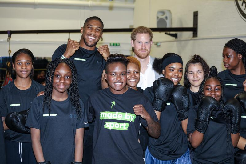 The Duke of Sussex with boxers Anthony Joshua and Nicola Adams (front centre) at the launch of Made by Sport, a new campaign bringing together a coalition of charities supporting disadvantaged young people through sport, at the Black Prince Trust in Lambeth.