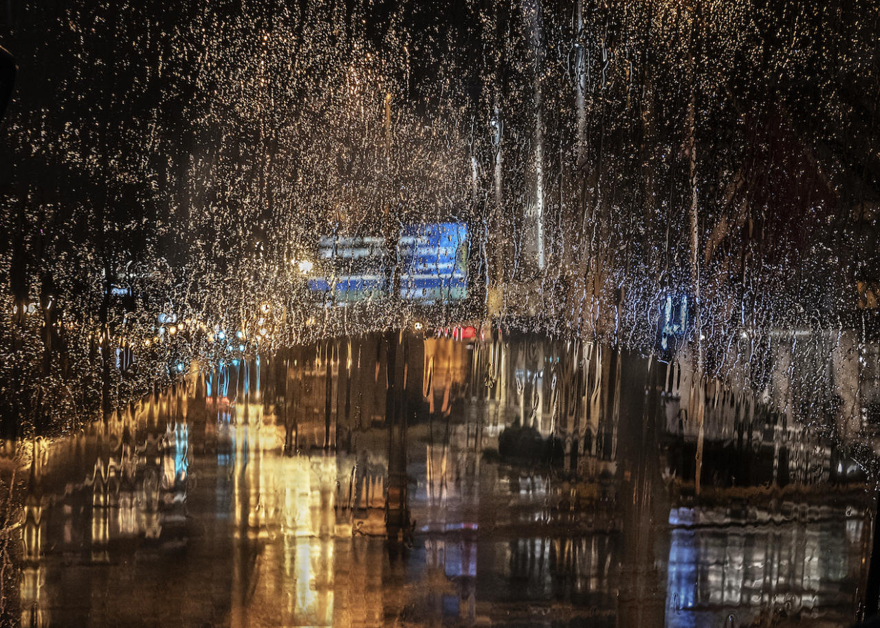 Christine Holt's shortlisted image of rain through the window of a bus in Memphis, Tennessee (Picture: RMetS)