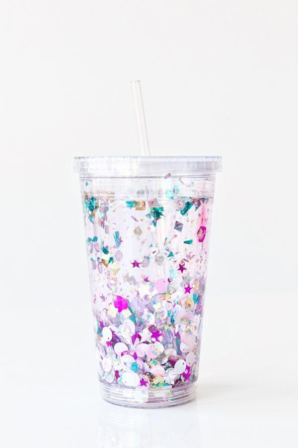 """<p>Jump on the reusable bandwagon (<a href=""""https://www.goodhousekeeping.com/home-products/a22561665/best-reusable-straws/"""" rel=""""nofollow noopener"""" target=""""_blank"""" data-ylk=""""slk:bye-bye, plastic straws!"""" class=""""link rapid-noclick-resp"""">bye-bye, plastic straws!</a>) with this easy-to-make glittery tumbler. </p><p><em><a href=""""https://studiodiy.com/2016/01/12/diy-glitter-tumbler/"""" rel=""""nofollow noopener"""" target=""""_blank"""" data-ylk=""""slk:Get the tutorial at Studio DIY »"""" class=""""link rapid-noclick-resp"""">Get the tutorial at Studio DIY »</a> </em></p>"""