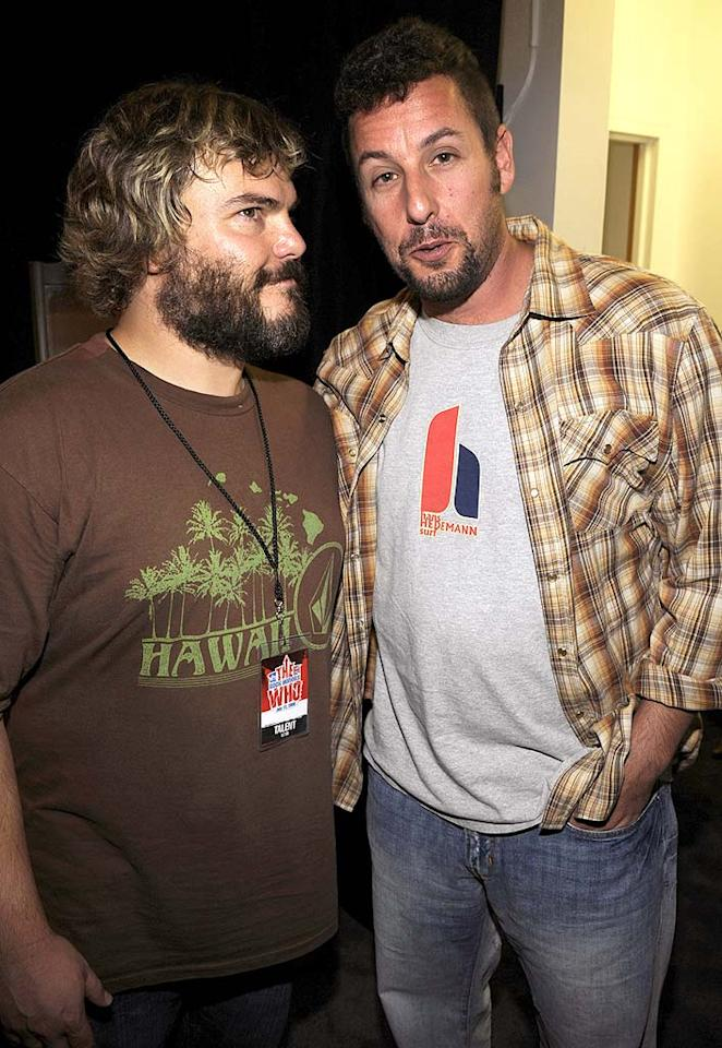 "Comedians Jack Black and Adam Sandler rocked out backstage. Kevin Mazur/<a href=""http://www.wireimage.com"" target=""new"">WireImage.com</a> - July 12, 2008"