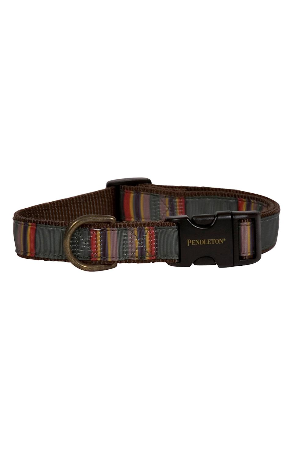 """<p><strong>Pendleton</strong></p><p>nordstrom.com</p><p><strong>$35.00</strong></p><p><a href=""""https://go.redirectingat.com?id=74968X1596630&url=https%3A%2F%2Fwww.nordstrom.com%2Fs%2Fpendleton-camp-dog-collar%2F5922983&sref=https%3A%2F%2Fwww.esquire.com%2Flifestyle%2Fg37069847%2Foutdoorsmen-gifts%2F"""" rel=""""nofollow noopener"""" target=""""_blank"""" data-ylk=""""slk:Buy"""" class=""""link rapid-noclick-resp"""">Buy</a></p><p>For your giftee's favorite trail companion.</p>"""
