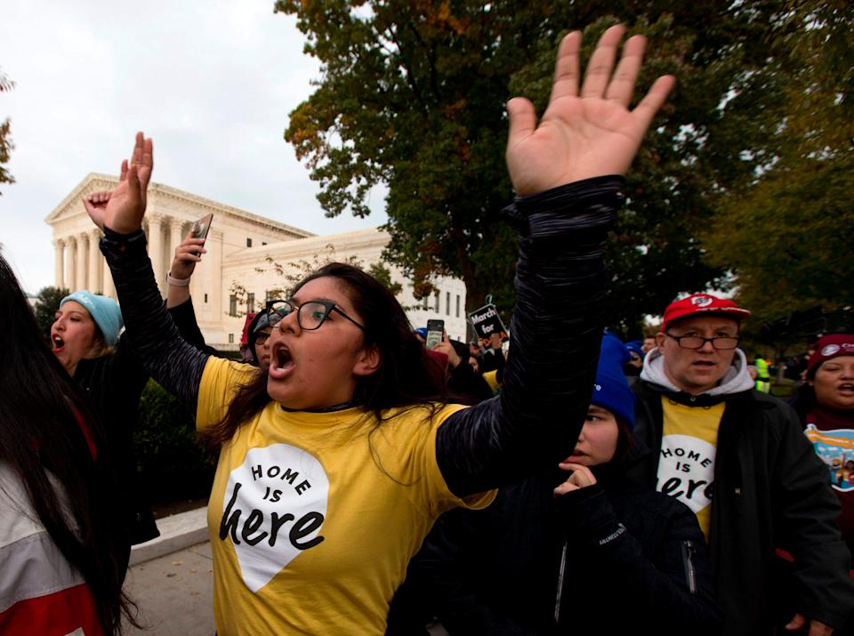 Demonstrators arrive in front of the U.S. Supreme Court during the Home is Here march for Deferred Action for Childhood Arrivals (DACA), and Temporary Protected Status (TPS) on Nov. 10, 2019 in Washington.