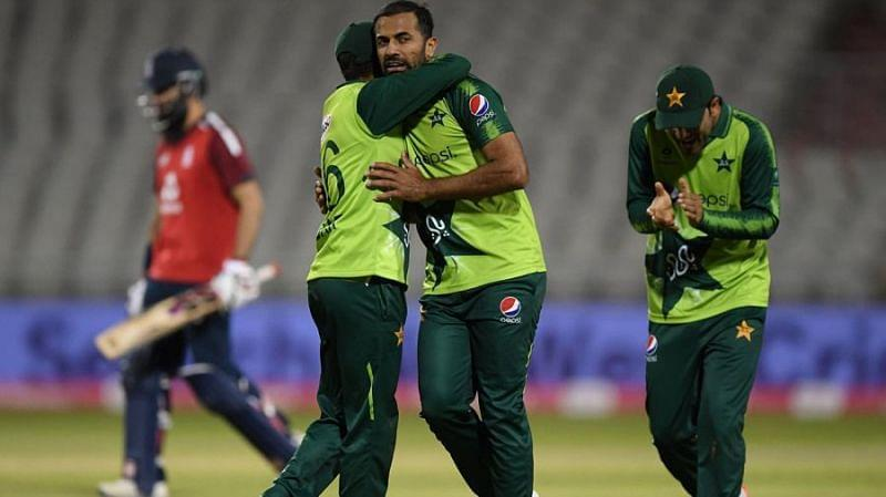 Wahab Riaz is congratulated after picking up a wicket against England.