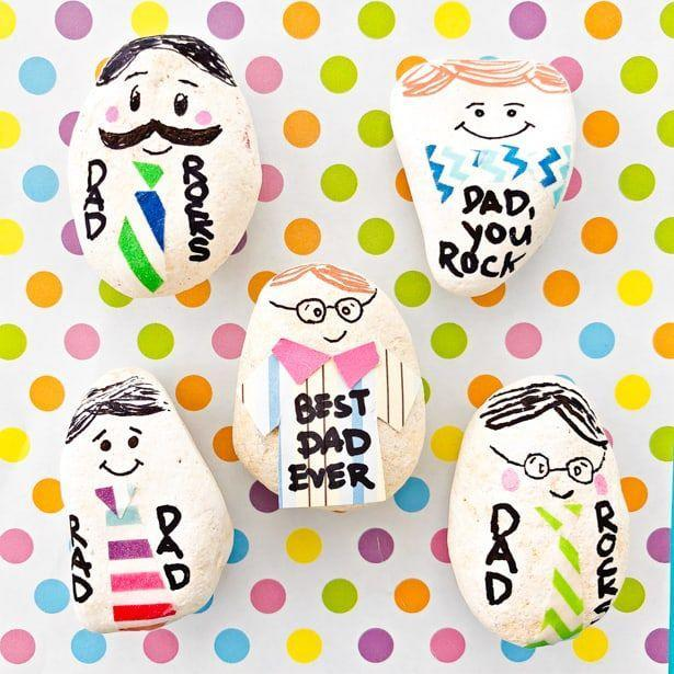 """<p>Dad rocks — literally. Collect rocks on your next walk, and re-create the members of your family for Dad to keep on his desk.</p><p><a href=""""https://www.hellowonderful.co/post/my-dad-rocks-father-s-day-paperweight/"""" rel=""""nofollow noopener"""" target=""""_blank"""" data-ylk=""""slk:Get the tutorial at Hello, Wonderful »"""" class=""""link rapid-noclick-resp""""><em>Get the tutorial at Hello, Wonderful »</em></a></p><p><strong>RELATED: </strong><a href=""""https://www.goodhousekeeping.com/holidays/fathers-day/g4305/first-fathers-day-gifts-for-new-dads/"""" rel=""""nofollow noopener"""" target=""""_blank"""" data-ylk=""""slk:The Best First Father's Day Gifts for New Dads"""" class=""""link rapid-noclick-resp""""> The Best First Father's Day Gifts for New Dads</a></p>"""