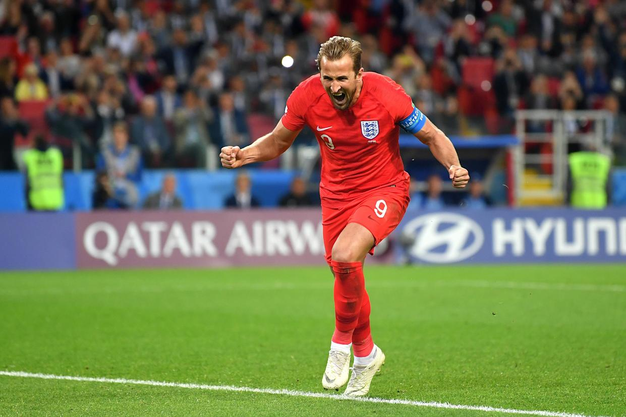England's Harry Kane scores from the penalty spot against Colombia during the 2018 FIFA World Cup Russia Round of 16 match between Colombia and England at Spartak Stadium on July 3, 2018 in Moscow, Russia.