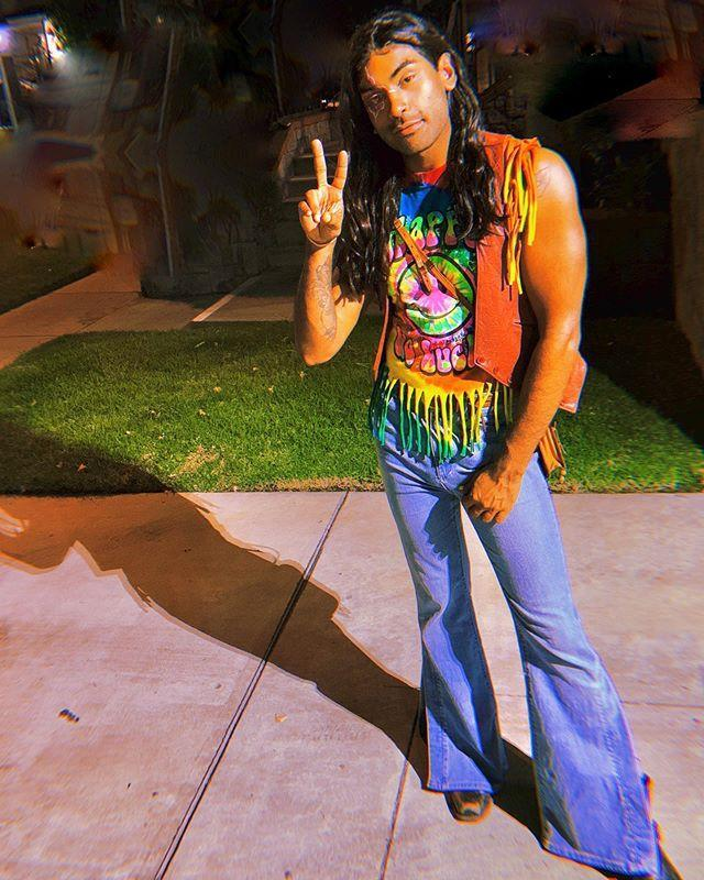 """<p>Want to up your tie-dye tee game for the occasion? Cutting the bottom of your shirt into small strips will give you a '60s-style fringe.</p><p><a href=""""https://www.instagram.com/p/B4PvNr0JmCE/&hidecaption=true"""" rel=""""nofollow noopener"""" target=""""_blank"""" data-ylk=""""slk:See the original post on Instagram"""" class=""""link rapid-noclick-resp"""">See the original post on Instagram</a></p>"""