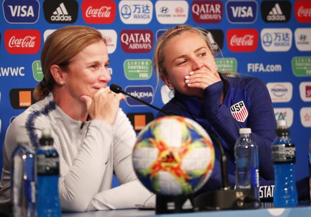 USWNT coach Jill Ellis, left, and midfielder Lindsey Horan are thinking about Chile, not a potential quarterfinal against France. (Reuters)