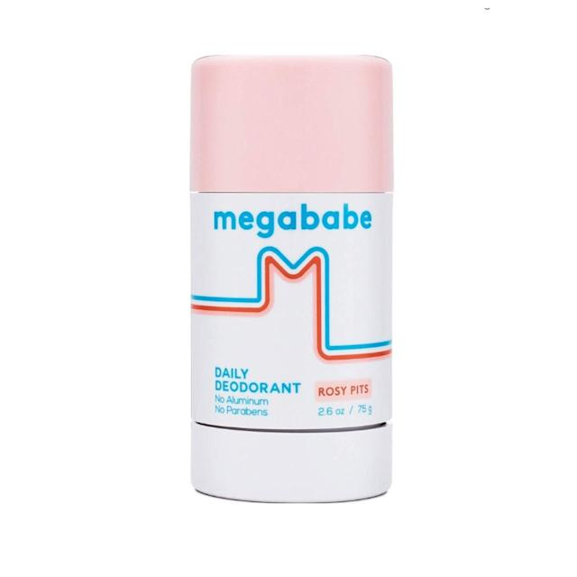 """<p>Ever since Megababe's Rosy Pits Daily Deodorant hit shelves, it's been a huge hit, gaining hype from bloggers and beauty editors alike. And, it's <em>not</em> just because of the super-cute retro packaging, either (though that is a nice perk). Instead of using aluminum to block sweat ducts from producing sweat, the brand uses a blend of natural ingredients like sage, green tea, and corn starch, all of which work to prevent odor-inducing bacteria from forming on the skin. It's also free and of alcohol and smells of rosy deliciousness — what more could you ask for?</p> <p>$18 (<a href=""""https://shop-links.co/1675590394238178063"""" rel=""""nofollow noopener"""" target=""""_blank"""" data-ylk=""""slk:Shop Now"""" class=""""link rapid-noclick-resp"""">Shop Now</a>)</p>"""