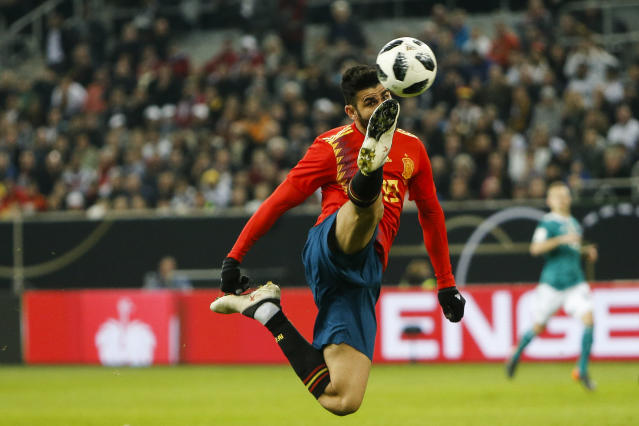 Spain's Diego Costa kicks the ball during an international friendly soccer match between Germany and Spain in Duesseldorf, Germany, Friday, March 23, 2018. (AP Photo/Michael Probst)