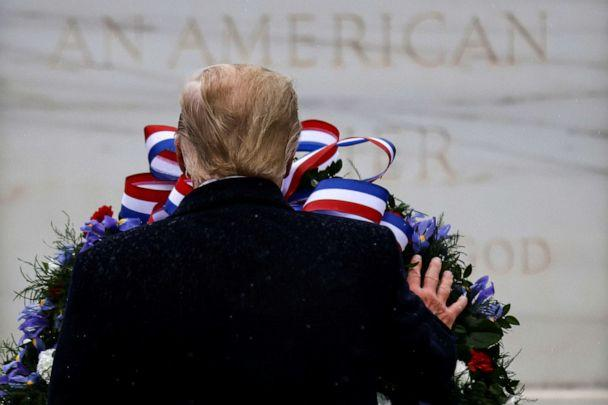 PHOTO: President Donald Trump lays a wreath at the Tomb of the Unknown Solider as he attends a Veterans Day observance in Arlington National Cemetery in Arlington, Va., Nov. 11, 2020. (Carlos Barria/Reuters)