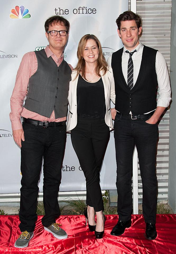 "Rainn Wilson, Jenna Fischer and John Krasinski arrive at ""The Office"" series finale wrap party at Unici Casa Gallery on March 16, 2013 in Culver City, California."