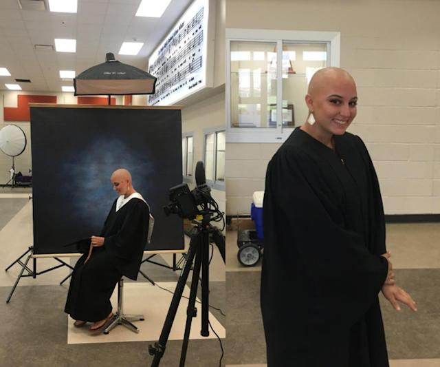 Morgan Carnish, who lost all her hair to cancer treatments, poses confidently for her high school senior portrait. (Photo: Morgan Carnish via Twitter)