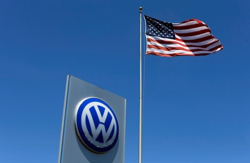 A U.S. flag flutters in the wind above a Volkswagen dealership in Carlsbad, California