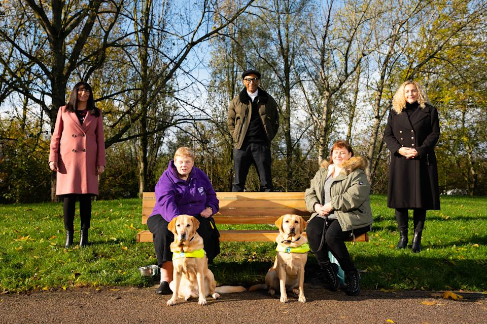 Community champions Michelle Thomson and Sarah-Jane Piper have been recognised with a bench, designed by BBC Repair Shop host Jay Blades, dedicated to their efforts during the coronavirus pandemic (David Parry/PA Wire)