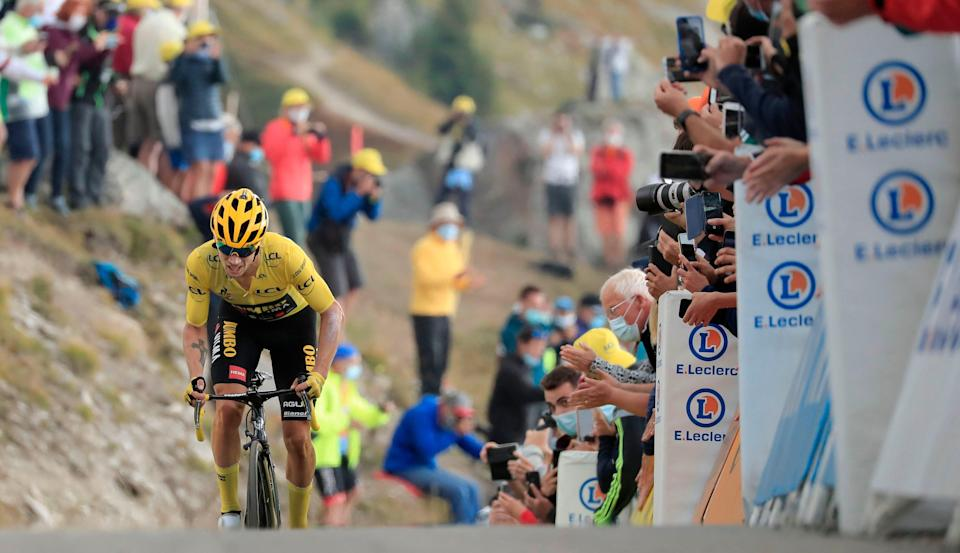 Race leader Primoz Roglic during stage 17 (POOL/AFP via Getty Images)