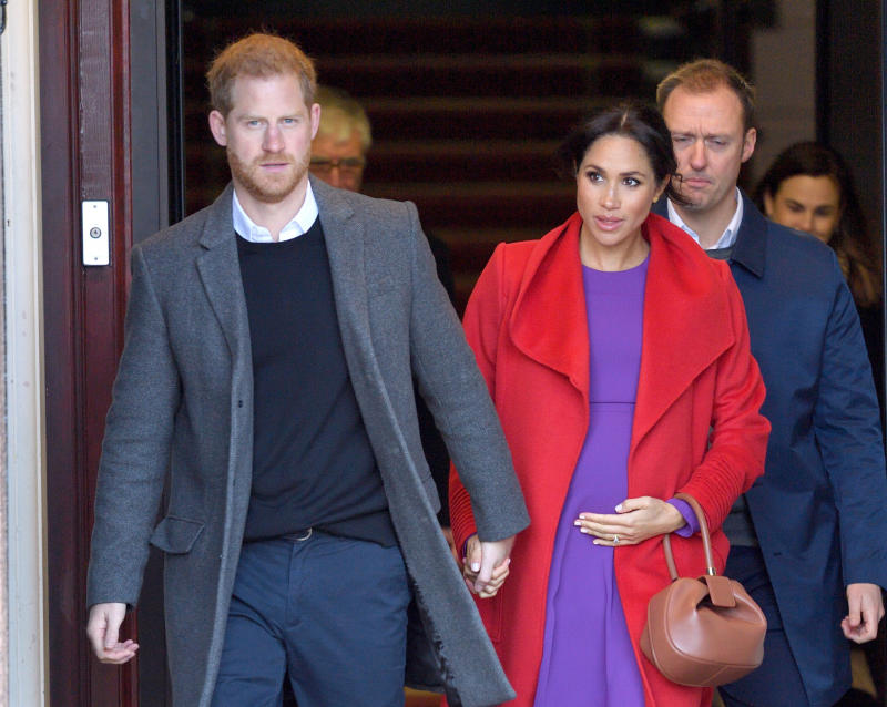 Prince Harry, Duke of Sussex and Meghan, Duchess of Sussex meet members of the public during a visit of Birkenhead at Hamilton Square on January 14, 2019 in Birkenhead, UK.