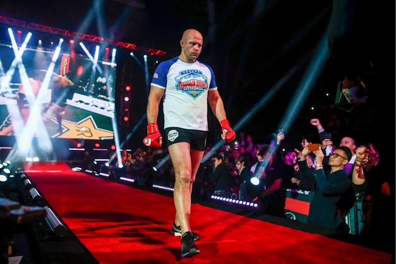 CALIFORNIA, UNITED STATES - JANUARY 26, 2019: Russian heavyweight MMA fighter Fedor Emelianenko ahead the Bellator Heavyweight World Grand Prix final bout against his American rival Ryan Bader at the Forum in Inglewood, California. TASS (Photo by TASS\TASS via Getty Images)