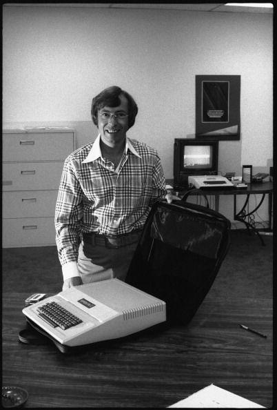 """<p>In 1977, the Apple II launched at the West Coast Computer Faire and essentially revolutionized the computer industry, as it was the <a href=""""http://www.esquire.com/preview/eyJpZCI6IjRhMGYxY2EzLWNhNzQtNGFiZS05ZDA0LTc1ZTg5YTk4MDM3ZSIsInR5cGUiOiJjb250ZW50IiwidmVyc2lvbiI6MCwidmVyc2lvbmVkIjpmYWxzZSwidmVyc2lvbl9jcmVhdGVkX2F0IjoiIn0=/"""" rel=""""nofollow noopener"""" target=""""_blank"""" data-ylk=""""slk:first successful home computer"""" class=""""link rapid-noclick-resp"""">first successful home computer</a>. An investor in the Apple Company (now Apple Inc.), Mike Markkula, poses in 1977 with the first model, which <a href=""""https://www.mac-history.net/computer-history/2008-05-25/apple-i-and-apple-ii"""" rel=""""nofollow noopener"""" target=""""_blank"""" data-ylk=""""slk:launched the company"""" class=""""link rapid-noclick-resp"""">launched the company</a> into a powerhouse. </p>"""