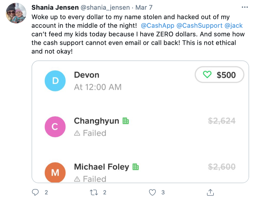 March 7, 2020 Tweet posted by Cash App user Shania Jensen