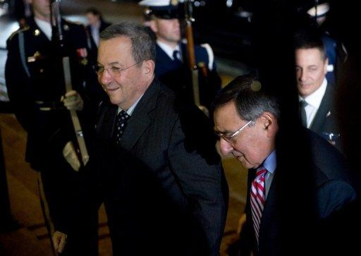 Secretary of Defense Leon Panetta (R) welcomes Israeli Minister of Defense Ehud Barak at the Pentagon January 9, 2013