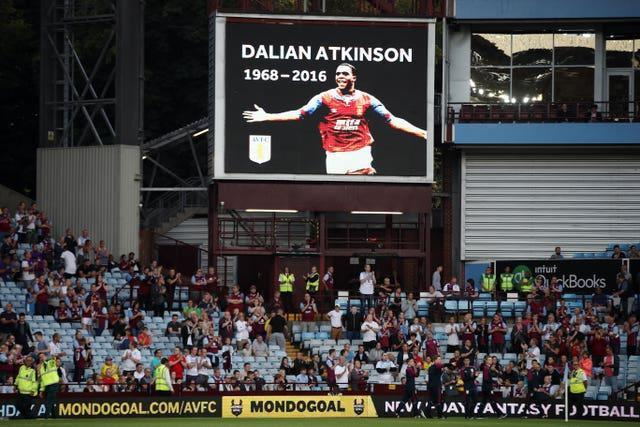 A tribute is shown on the big screen at Villa Park in memory of former player Dalian Atkinson