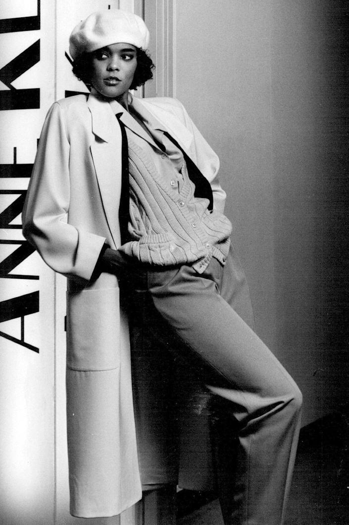 <p>A model wears a suited cardigan look at an Anne Klein presentation. </p>